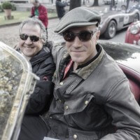 Daniel Day-Lewis and Yasmin Le Bon at Mille Miglia rally in Italy