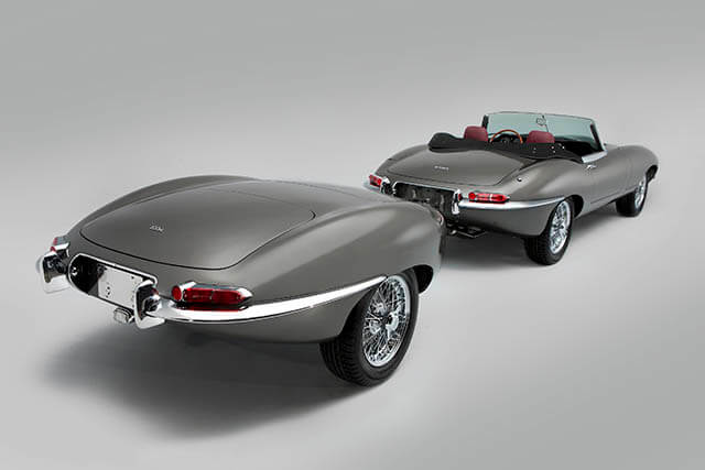 Stretched Jaguar E-type and matching trailer