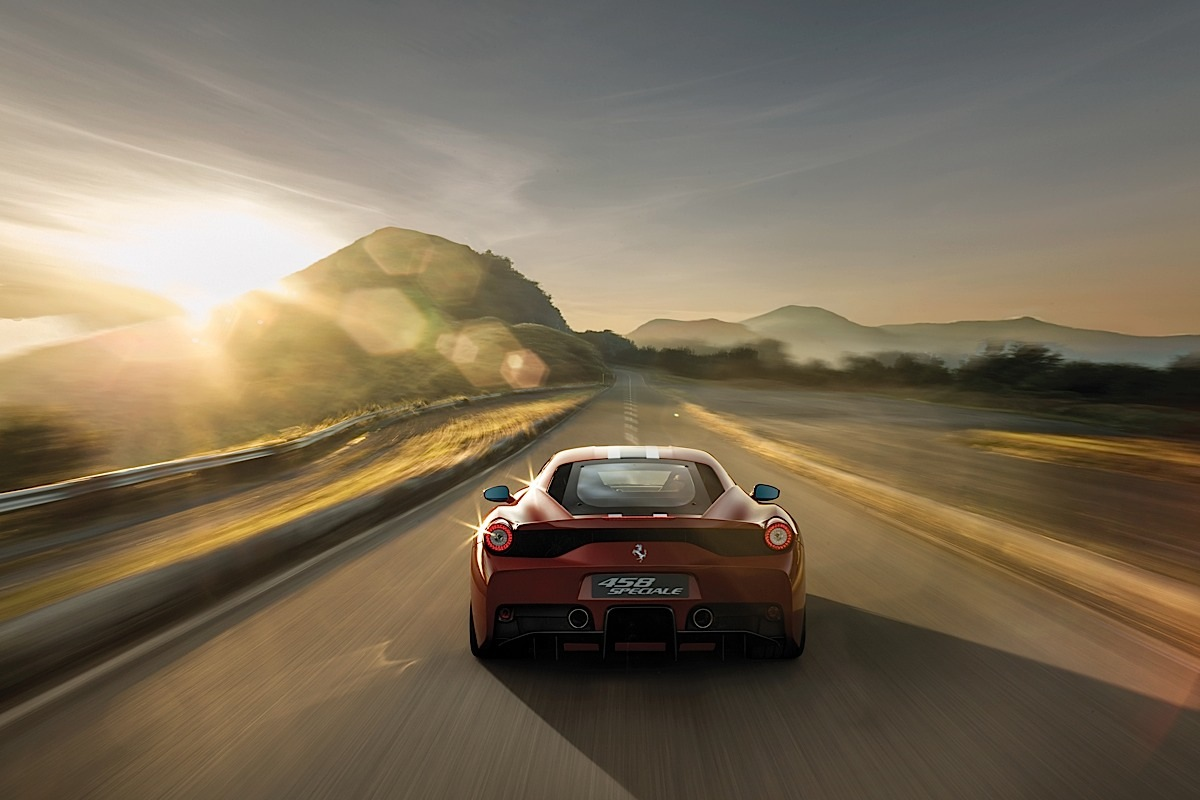 Ferrari 458 Speciale and an open road.