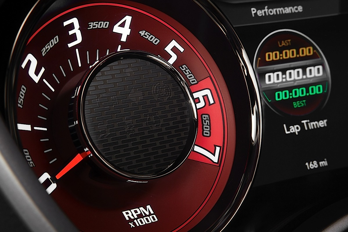 """2015 Dodge Challenger SRT Hellcat tachometer gauge, which provides a heritage-inspired look, reminiscent of the 'tic-toc-tach"""" gauges from the 1971 Challenger and are finished in a Dark Radar Red tone."""