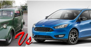 A 1956 Ford Popular and a 2015 Ford Focus — but which would be cheaper to run?