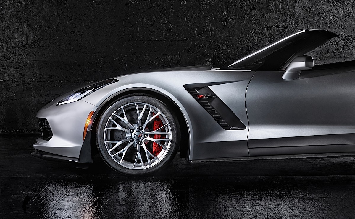 The 2015 Chevrolet Corvette Z06 Convertible, shot by Dan Wang, from Rochester Institute of Technology, as part of a student-photography competition for the New York Auto Show. Wang's philosophy for the shoot was to portray how the vehicle would look on the road, by creating images that were aesthetically lifelike.
