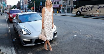 NEW YORK, NY - AUGUST 20: Professional tennis player Maria Sharapova poses with a Porsche Panamera Turbo at the CFDA Celebrates Fashion Targets Breast Cancer 20th Anniversary event with Maria Sharapova, presented by Porsche at The New Museum on August 20, 2014 in New York City. (Photo by Cindy Ord/Getty Images for Council of Fashion Designers of America)