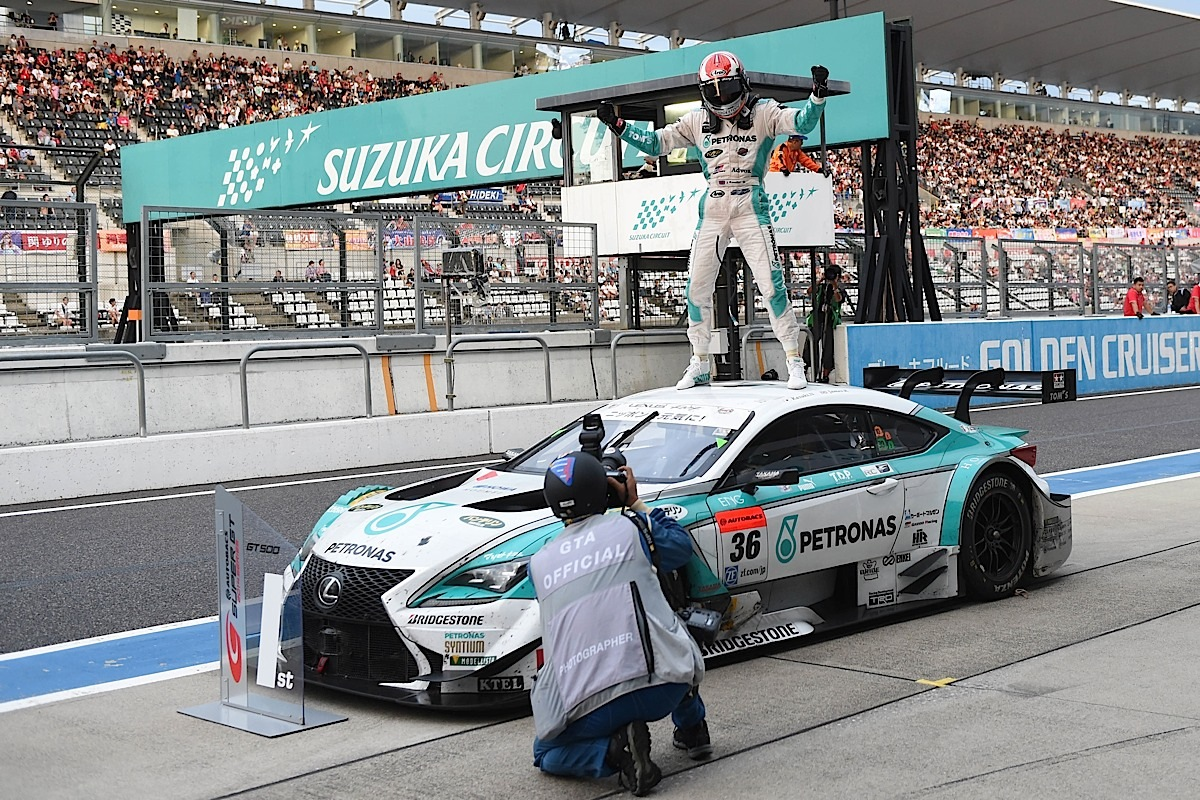 SUZUKA, JAPAN - AUGUST 31:  James Rossiter of LEXUS TEAM PETRONAS TOM'S celebrate after winning the race during the 2014 AUTOBACS GT Round 6 43rd International 1000km GT500 - Final Race at Suzuka Circuit on August 31, 2014 in Suzuka, Japan.  (Photo by Atsushi Tomura/Getty Images for MOBILITYLAND)