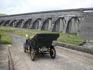 A 1910 Model T Ford next to the hydro dam at Glen Shira