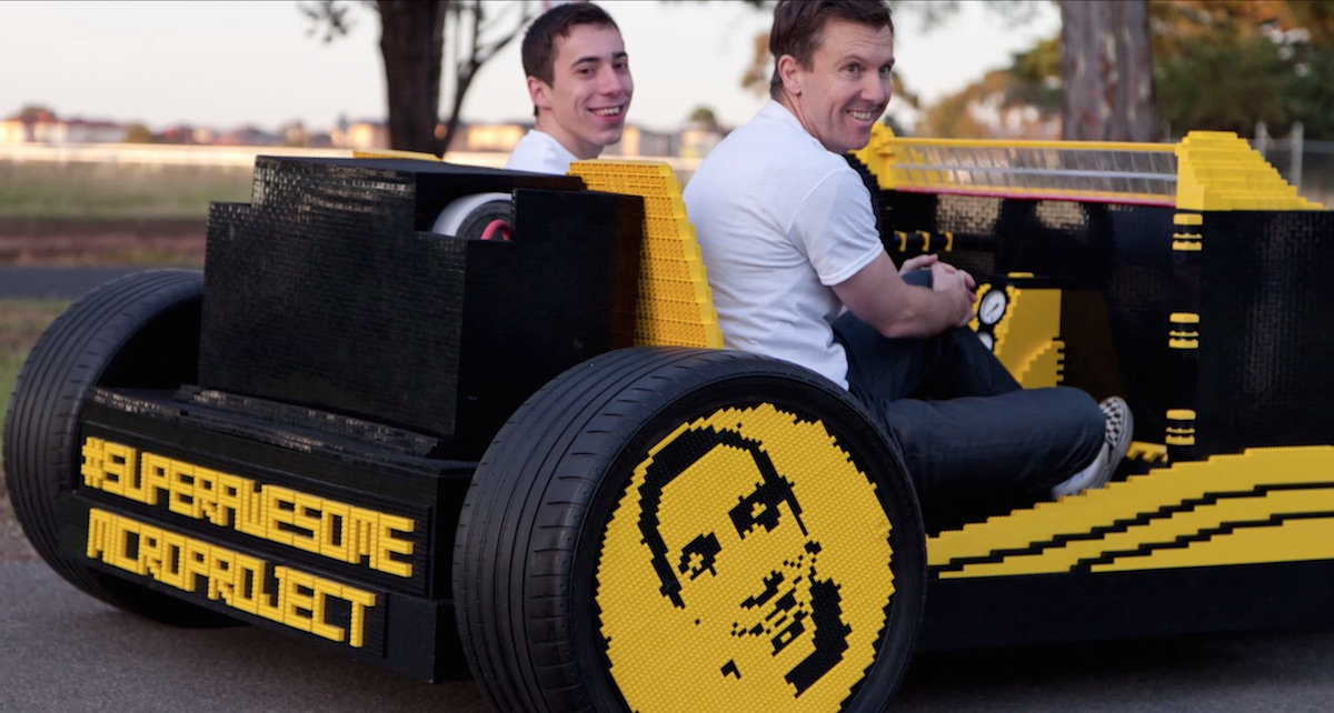 Full-size Lego car powered by air