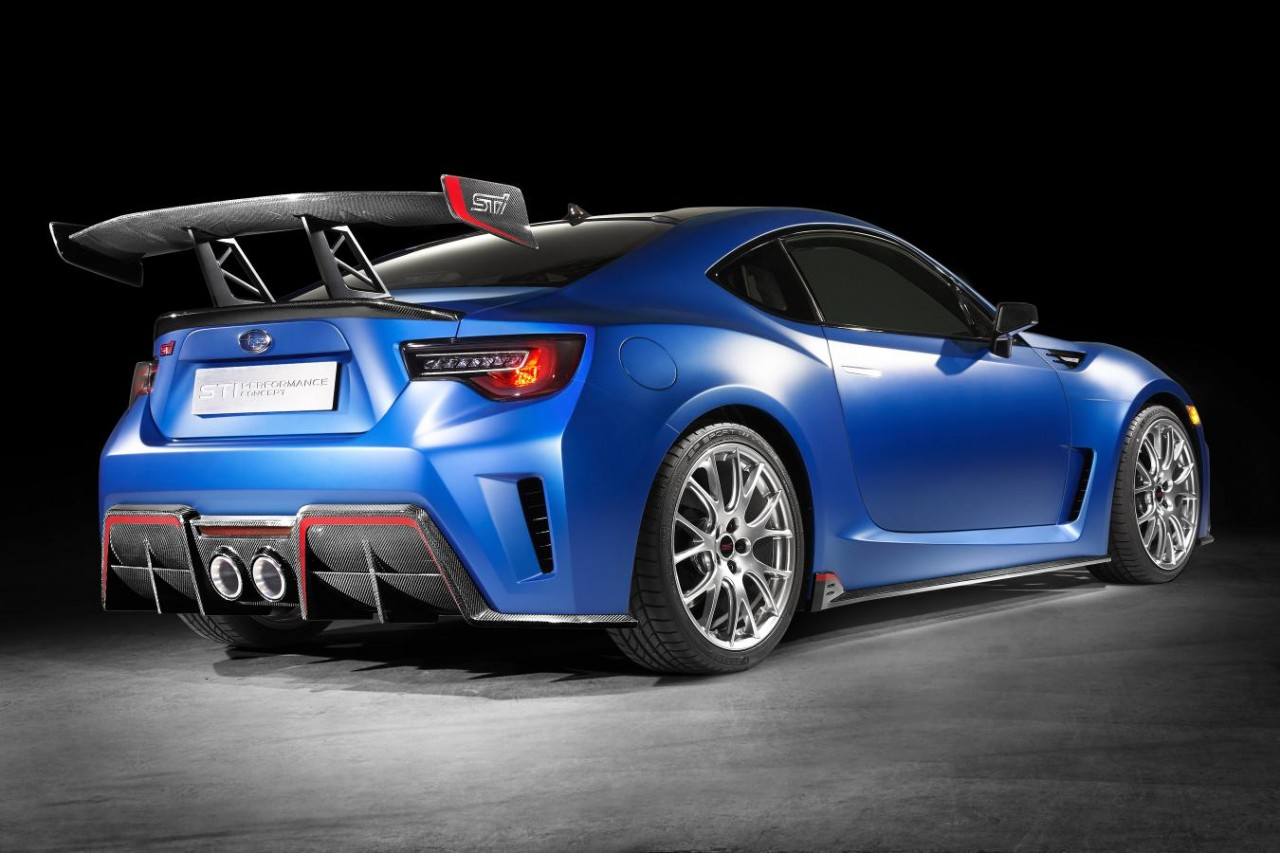 The subaru sti performance concept s impressive rear end