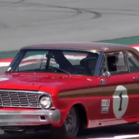 Classic car racing with Ford Mustang and Ford Falcon
