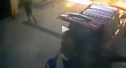 Truck misses woman by split second, wrecks her jeep (video)