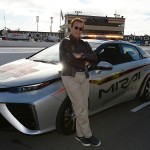 SONOMA, CA - JUNE 28:  Actor and former governor of California Arnold Schwarzenegger poses with the 2016 Toyota Mirai pace car, a hydrogen fuel-cell electric vehicle, on pit road prior to the NASCAR Sprint Cup Series Toyota/Save Mart 350 at Sonoma Raceway on June 28, 2015 in Sonoma, California.  (Photo by Robert Laberge/Getty Images) *** Local Caption *** Arnold Schwarzenegger