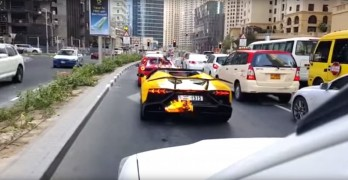 Watch This Dubai Lamborghini Burst Into Flames After Shooting Fire From Its Exhaust